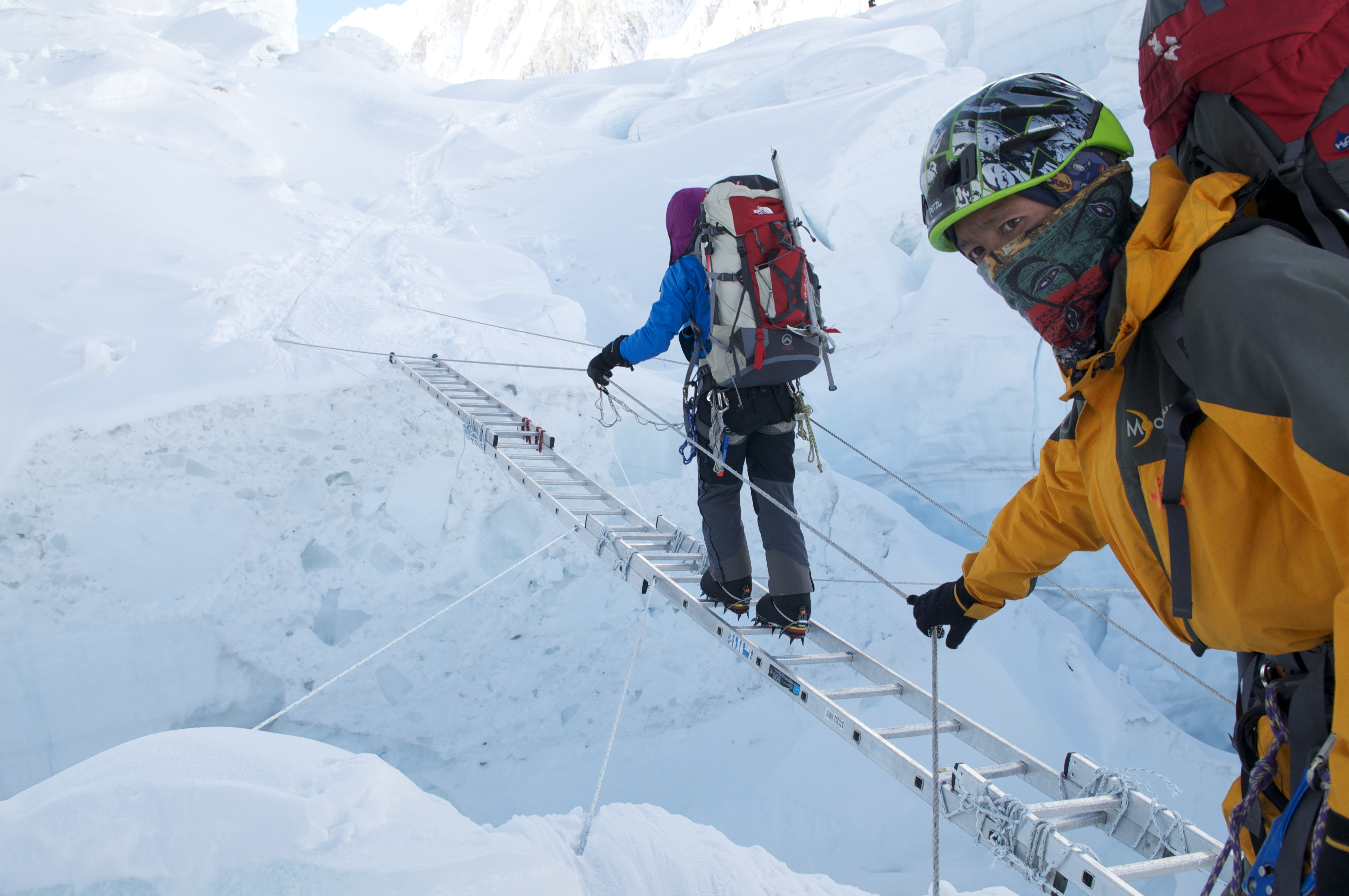 Ladder Crossings in the Khumbu Ice Fall